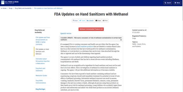 美国FDA扩大召回含有毒甲醇洗手液,数量已达76款_国际新闻_国际资讯_中国洗涤用品行业信息网